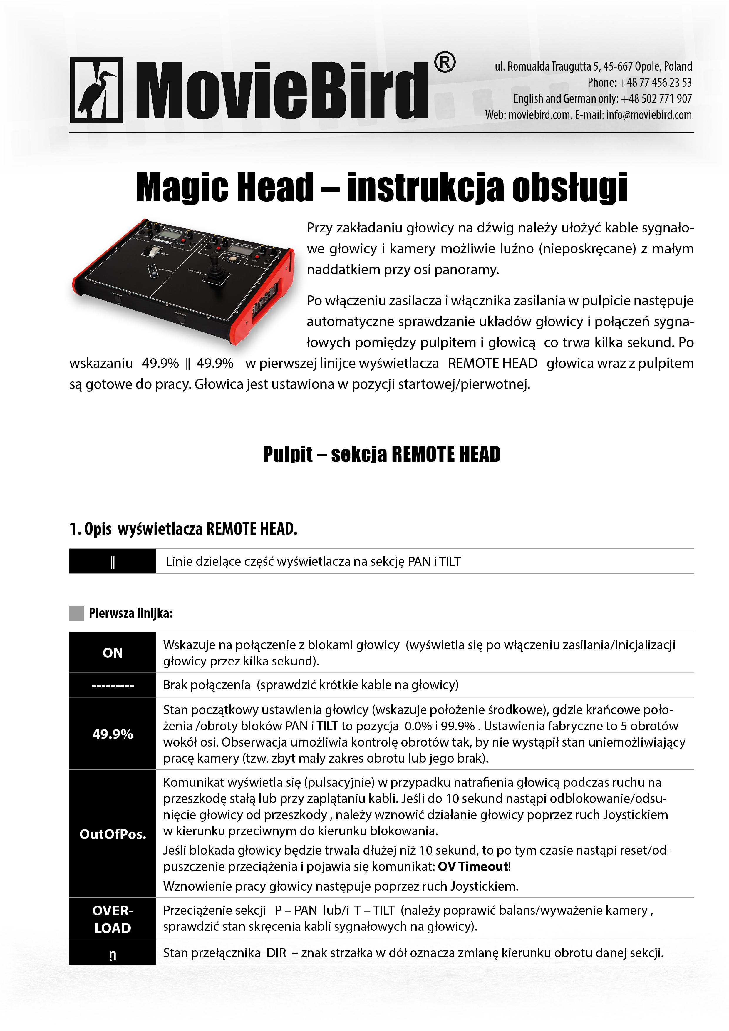 MovieBird Magic Head - krótka instrukcja